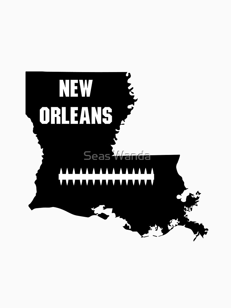 New Orleans Louisiana NO LA Map Football  by macshoptee