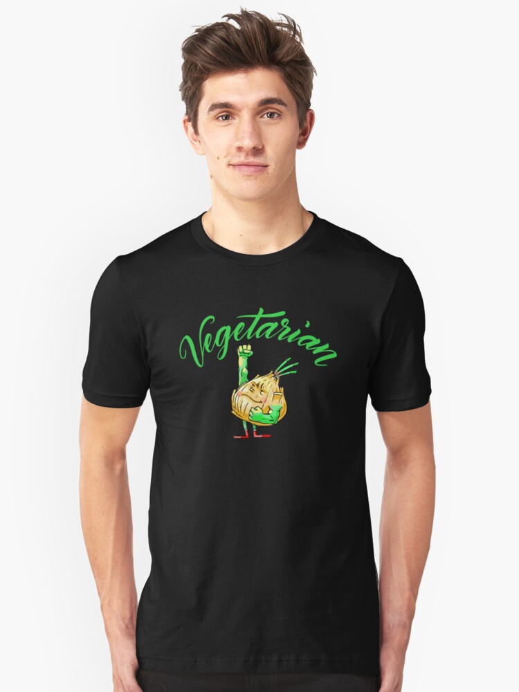 Strong Onion Vegetarian Foodietoon / Veggie Superheroes Unisex T-Shirt Front