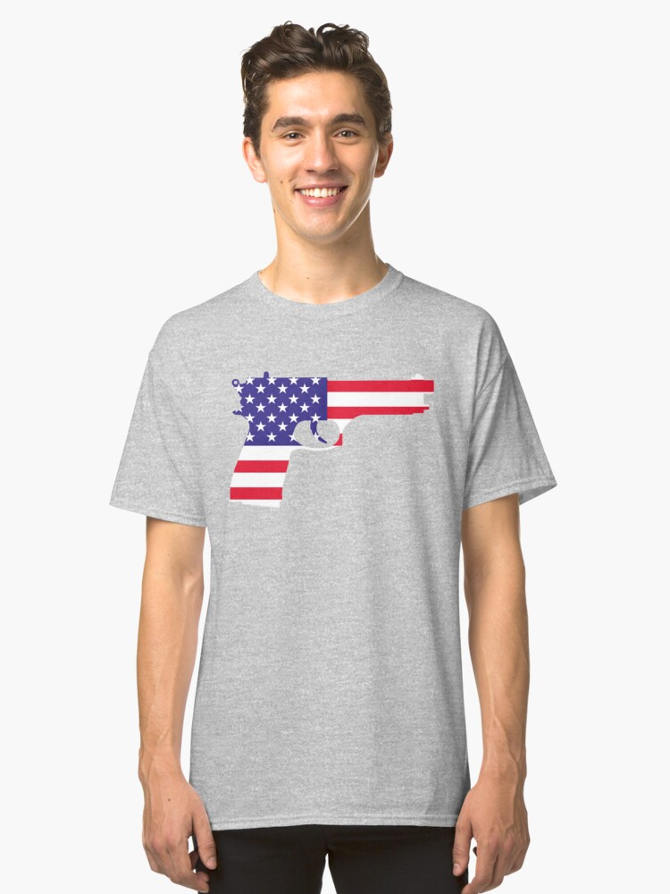 Pistol on American Flag Classic T-Shirt Front