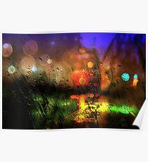 Rainy city lights 2 Poster