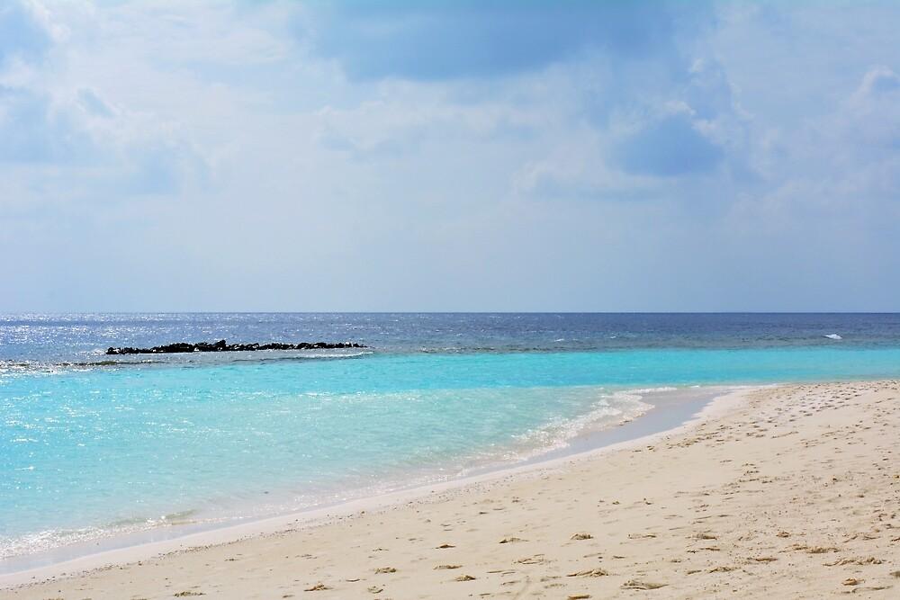 The clear blue water in Maldives by oanaunciuleanu
