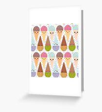 Kawaii mint raspberry chocolate Ice cream waffle cone, pastel polka dot background Greeting Card