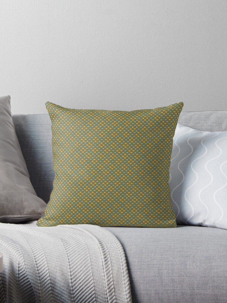 Orange and Cream Faux Weave on Green Retro Pattern by coverinlove