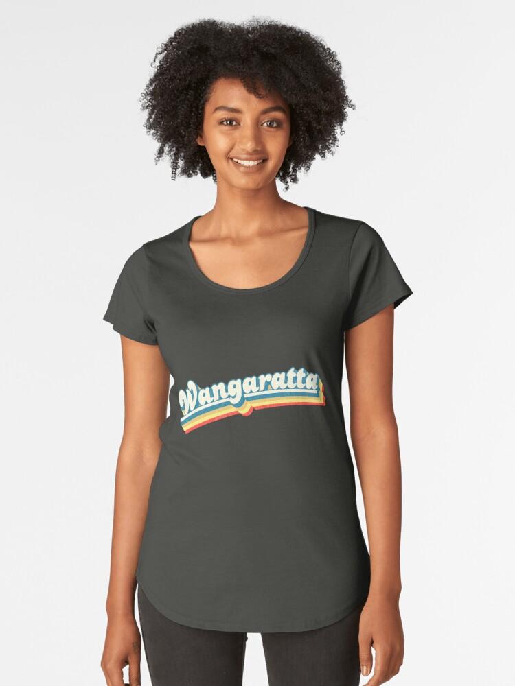 Wangaratta, VIC | Retro Rainbow Women's Premium T-Shirt Front