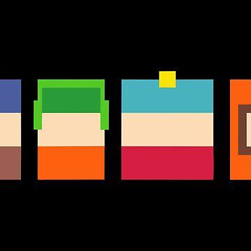 South Park Boys Pixel Art Merchandise by JamesLibby