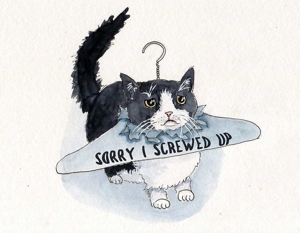 Sorry I screw Up Funny Cat Apology Card by Liyana-Studio