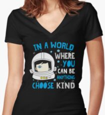 Trending Choose Kind Anti Bullying Helmet T-Shirt Shirt Women's Fitted V-Neck T-Shirt