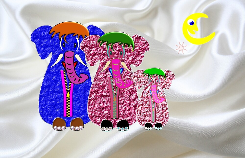 Elephamily Nightdress Cases on a Bed of Silk by Dennis Melling