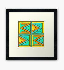Retro Triangular Patterns Framed Print