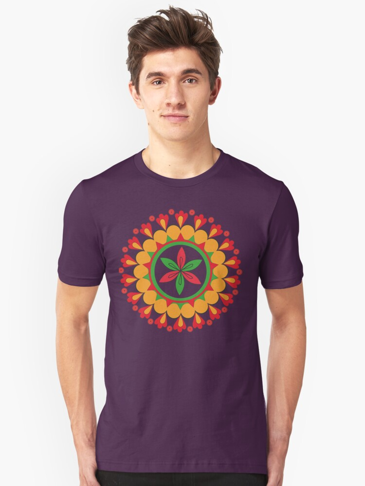 floral ornament on the motives of folk art of the peoples of the Russian North Unisex T-Shirt Front