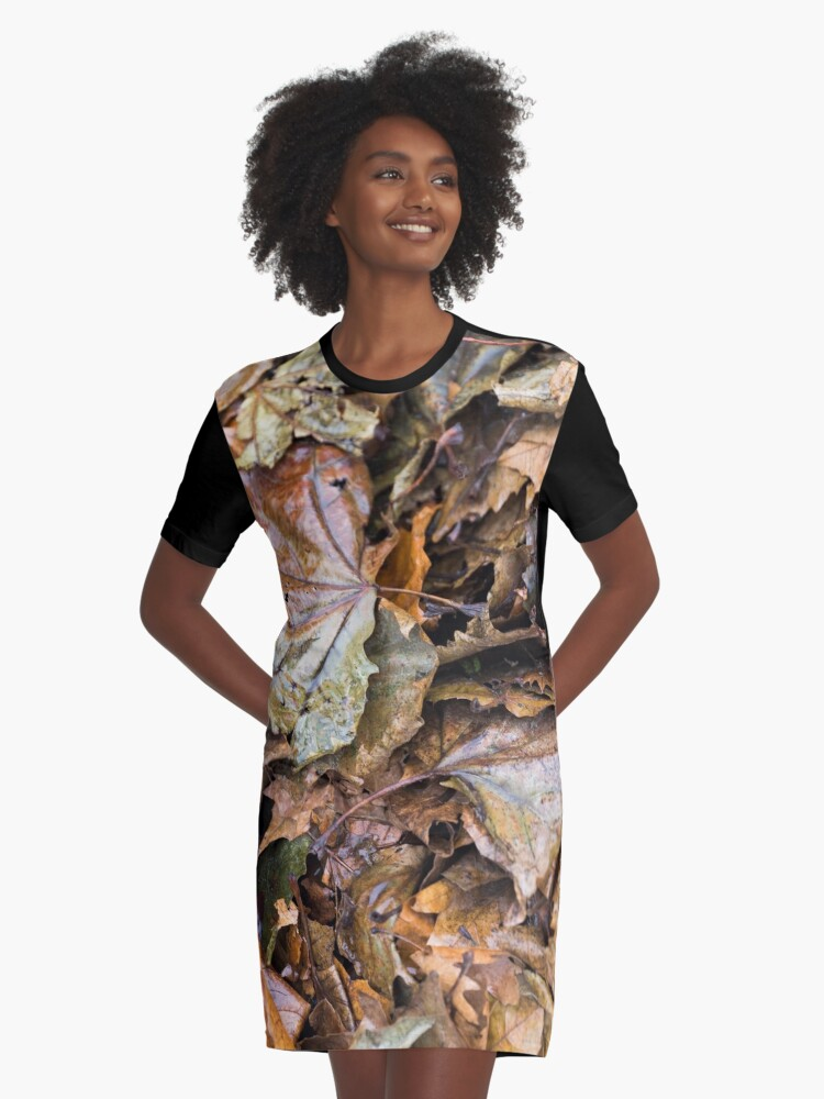 Autumn Leaves a Bunch Graphic T-Shirt Dress Front