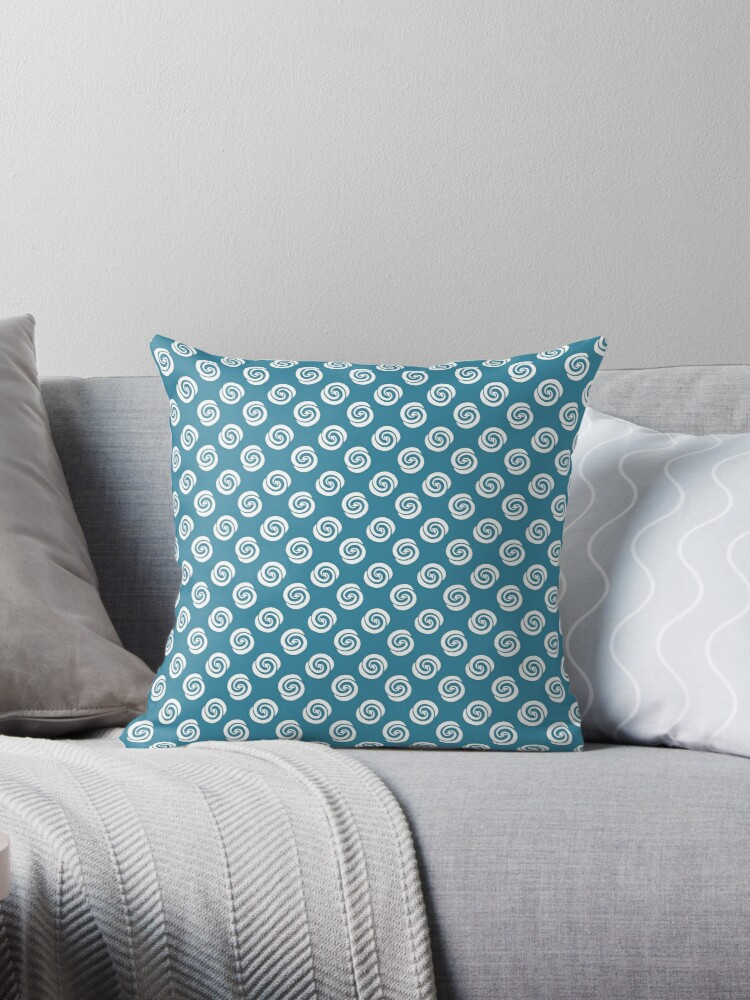 White Swirly Dots on Robins Egg Blue Retro Pattern by coverinlove