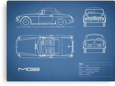 The MGB Blueprint Canvas Print