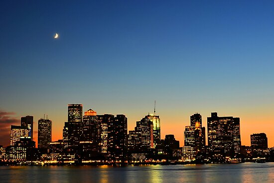 Crescent Moon over Boston at Dusk from East Boston by WayneOxfordPh