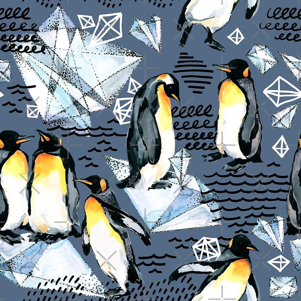 Emperor penguin watercolor illustration by Fayankova Alena