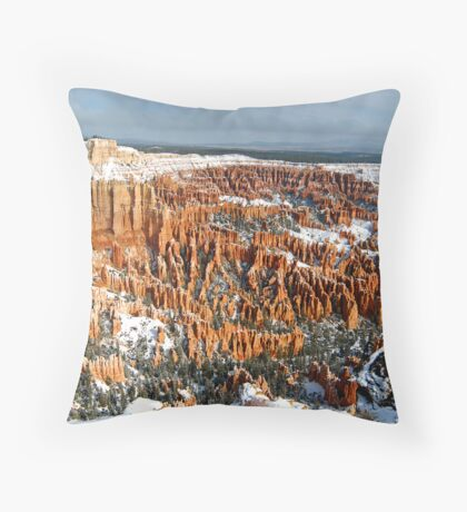 Snow on Bryce Amphitheater Throw Pillow