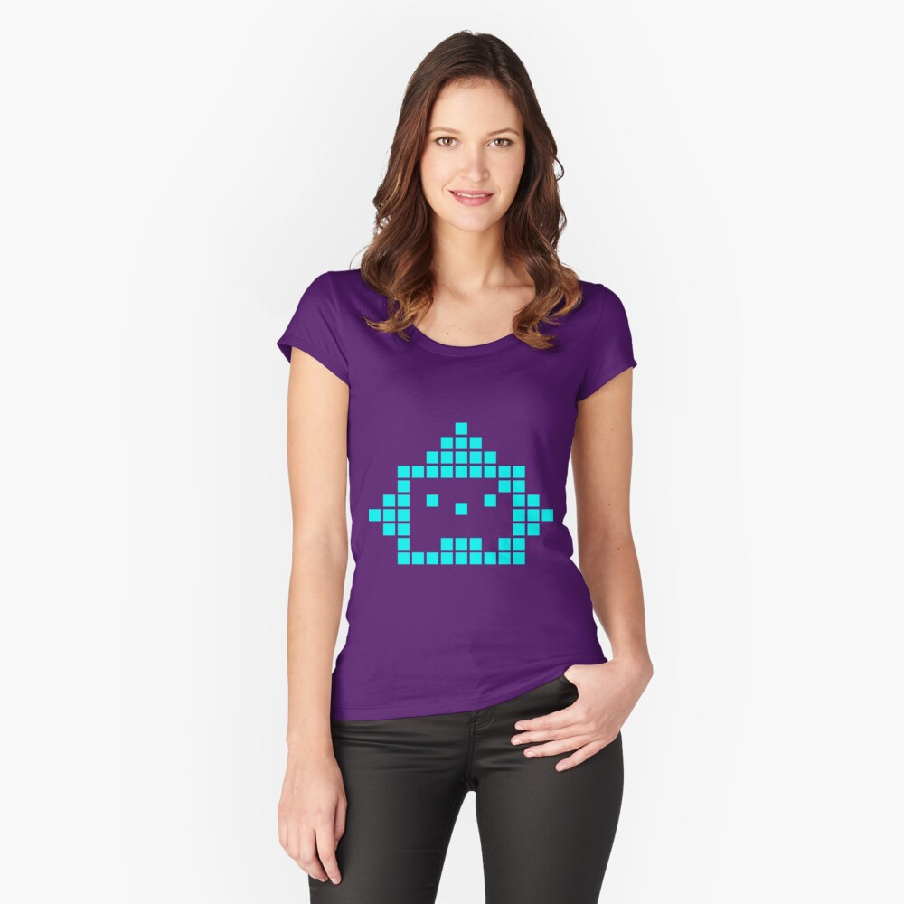 mosaic robot cyan Women's Fitted Scoop T-Shirt Front