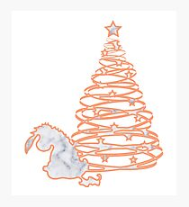 Donkey at Christmas Marble Silhouette Photographic Print