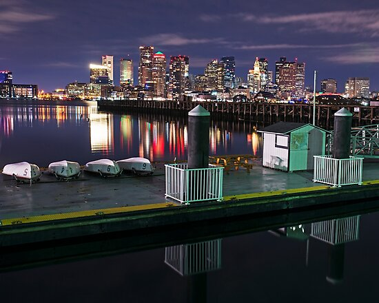The Boston Skyline lit up for Christmas Boats by WayneOxfordPh