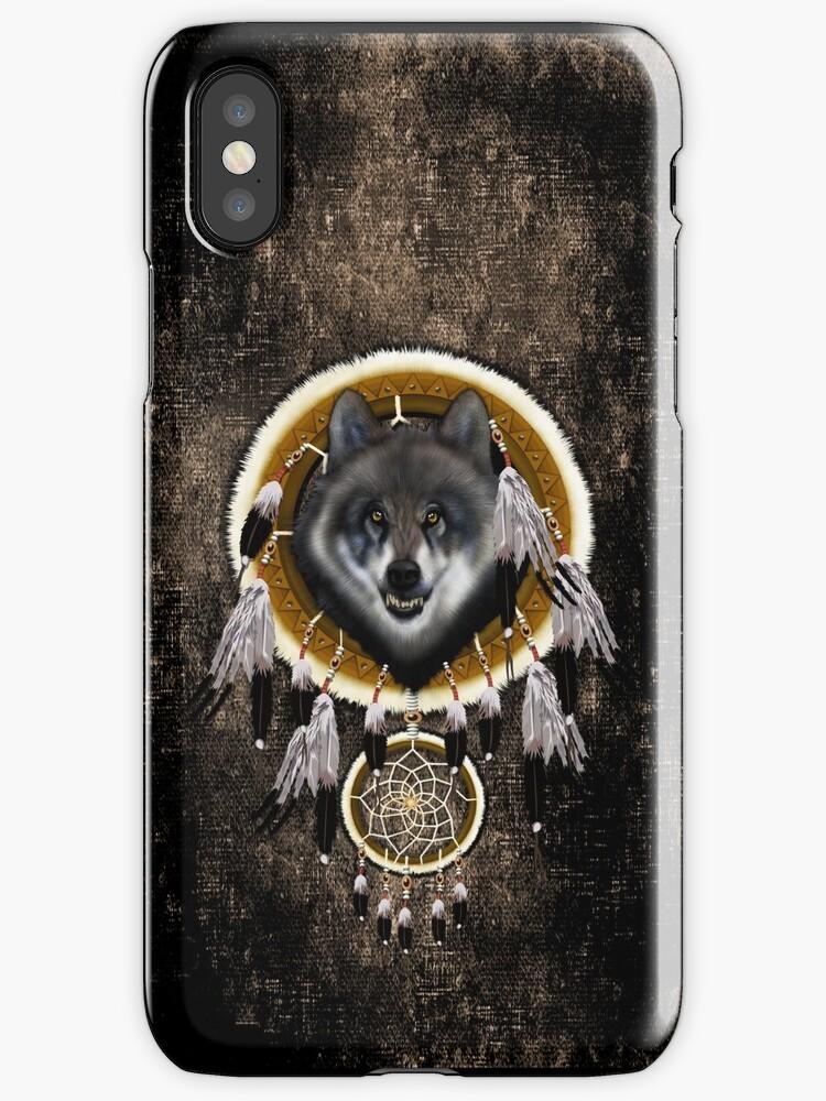 indian native gray wolf dreamcatchers by ADZKIYYA DESIGN