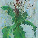 Burdock leaves, sorrel and autumn herbs,  by clipsocallipso