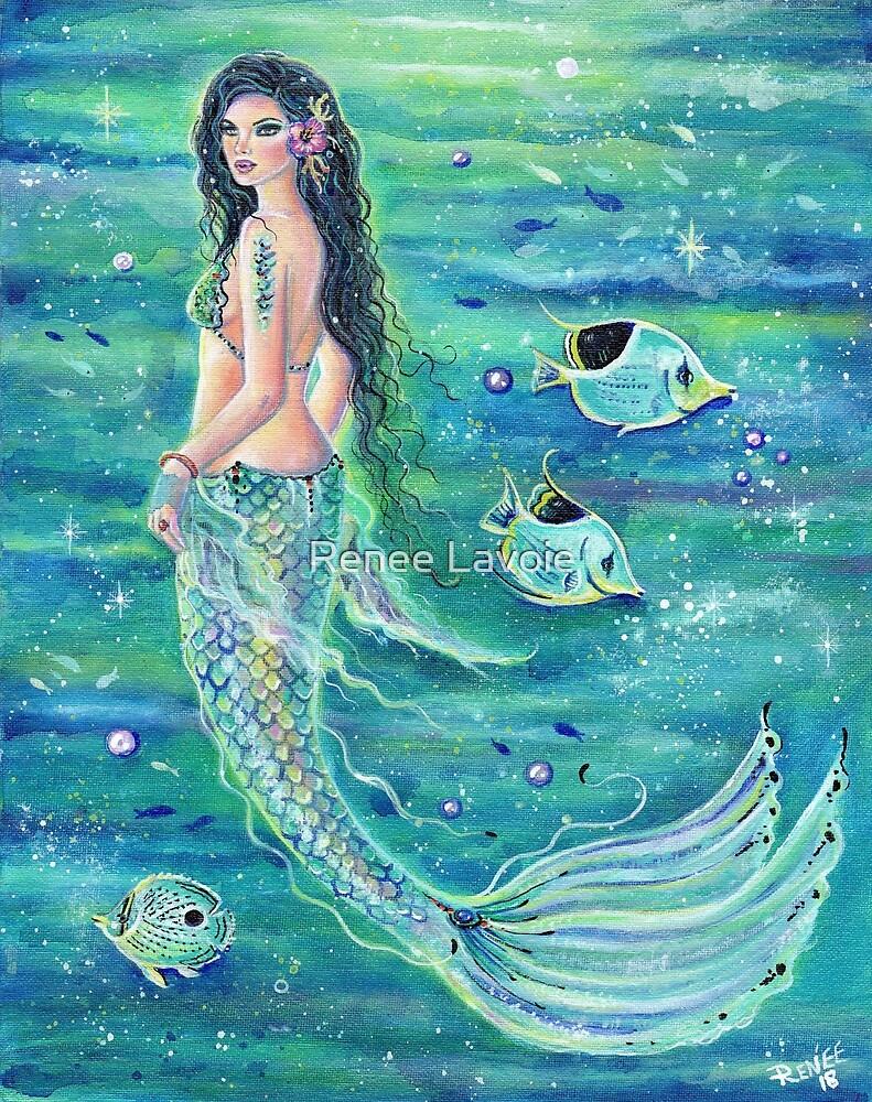 Andrina Mermaid with angelfish by Renee L. Lavoie by Renee Lavoie