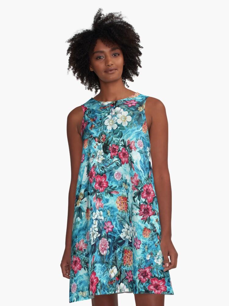 Ocean Ripple A-Line Dress Front