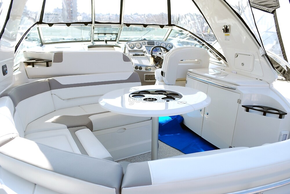 Luxury yacht interior with table by goceris