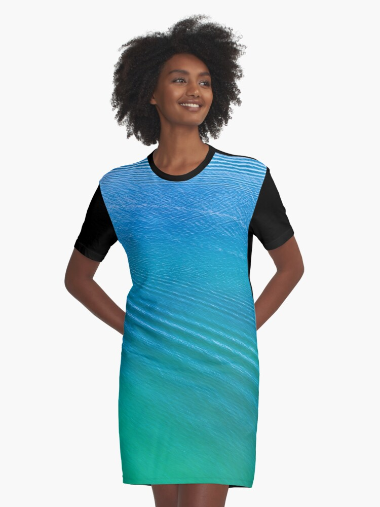 Ocean Ripple Above Graphic T-Shirt Dress Front