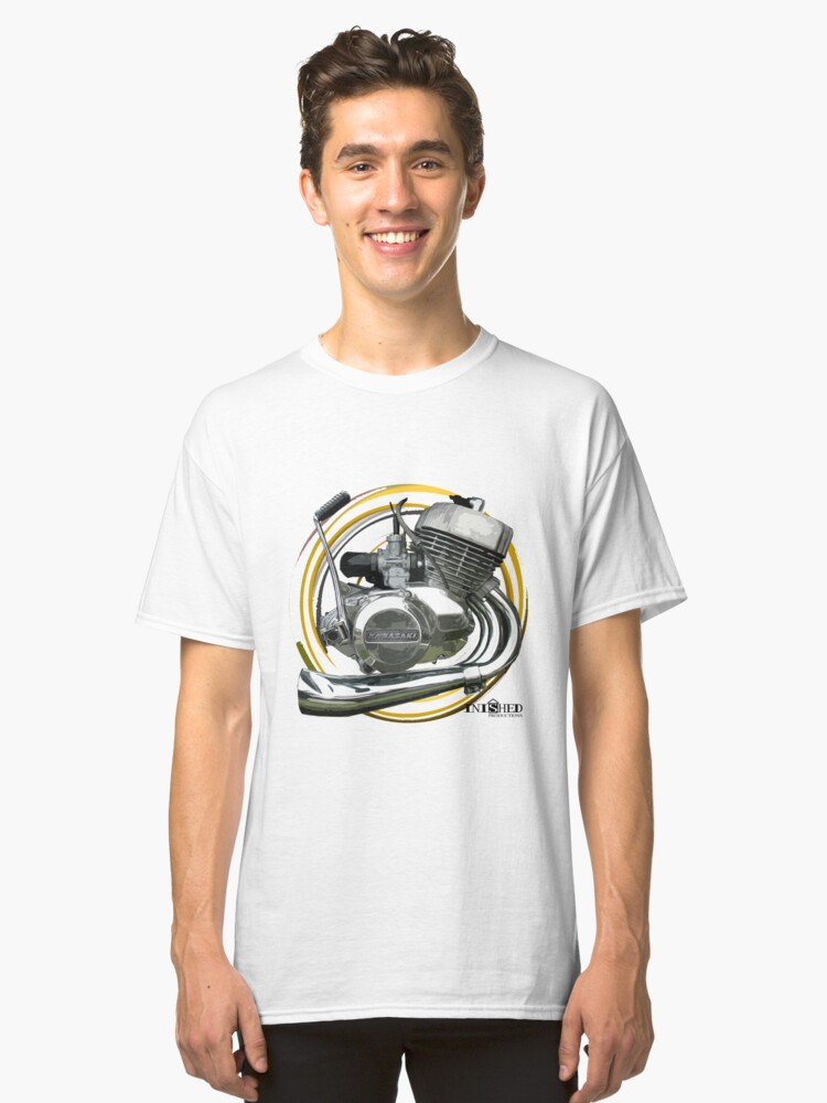 Inished Kawasaki H2 MACH IV 750 Triple two Stroke engine art Classic T-Shirt Front