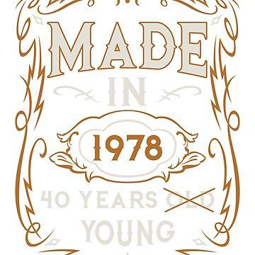 40th Birthday T-Shirt Gift - Vintage Style by JasonJJ