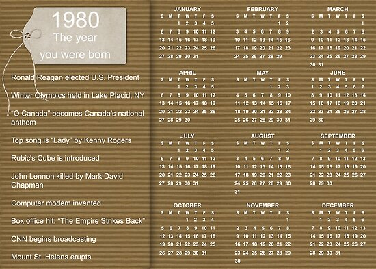 Happy Birthday Born In 1980 Calendar Poster Posters By Colorwash
