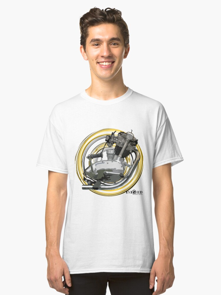 Inished Triumph Tiger Cub 220 iconic engine art Classic T-Shirt Front