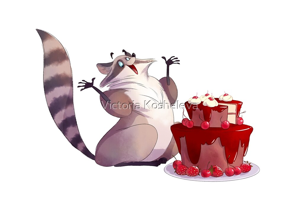 Funny raccoon with the big cherry cake by Victoria Kosheleva