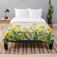 Gelbe Wildblumen Fleecedecke