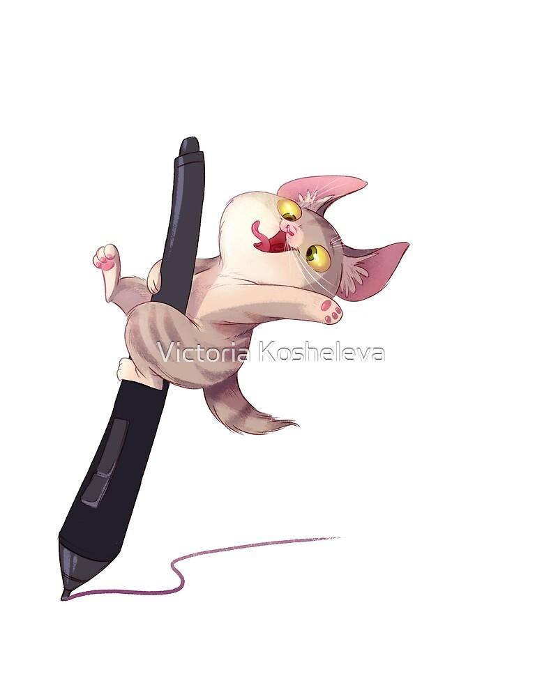 Crazy kitten riding on the stylus by Victoria Kosheleva