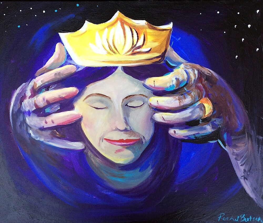 Jesus placing a crown on a womans head by artbyrachelluca
