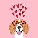 Beagle head love hearts valentines day dog breed must have gifts by PetFriendly