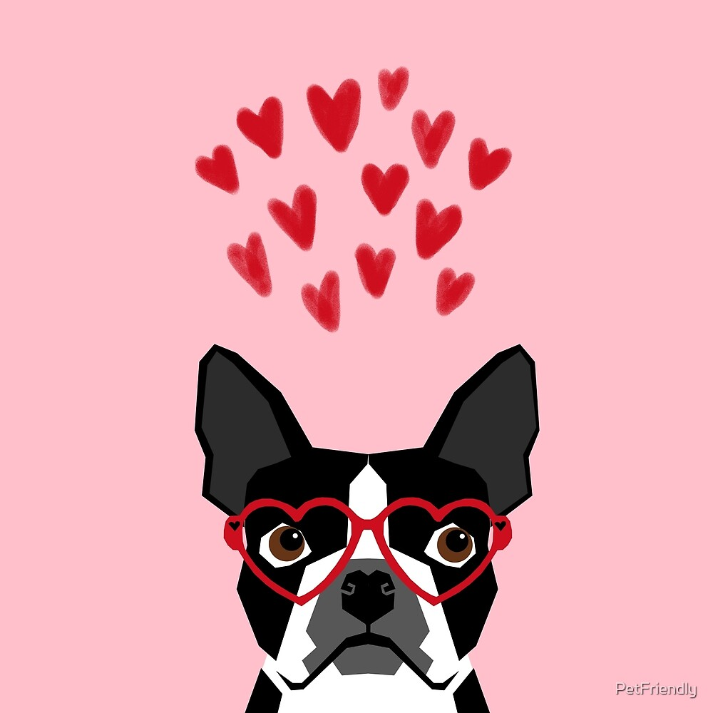 Boston Terrier head love hearts valentines day dog breed must have gifts by PetFriendly