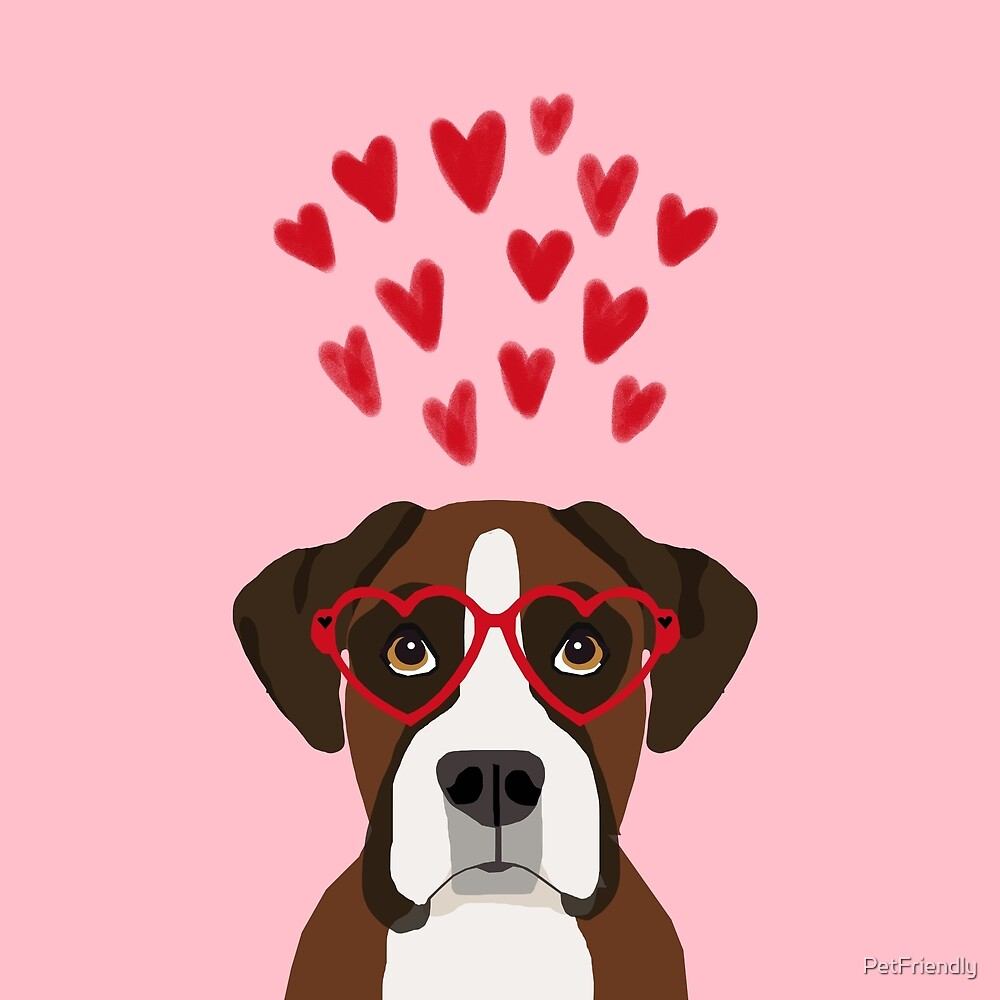 Boxer head love hearts valentines day dog breed must have gifts by PetFriendly