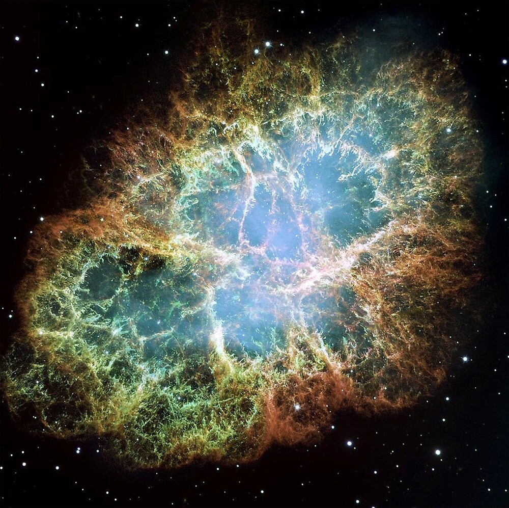 Crab Nebula, a six-light-year-wide expanding remnant of a star's supernova explosion. by TOM HILL - Designer