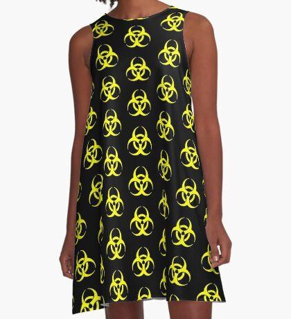 Biohazard Yellow on Black A-Line Dress