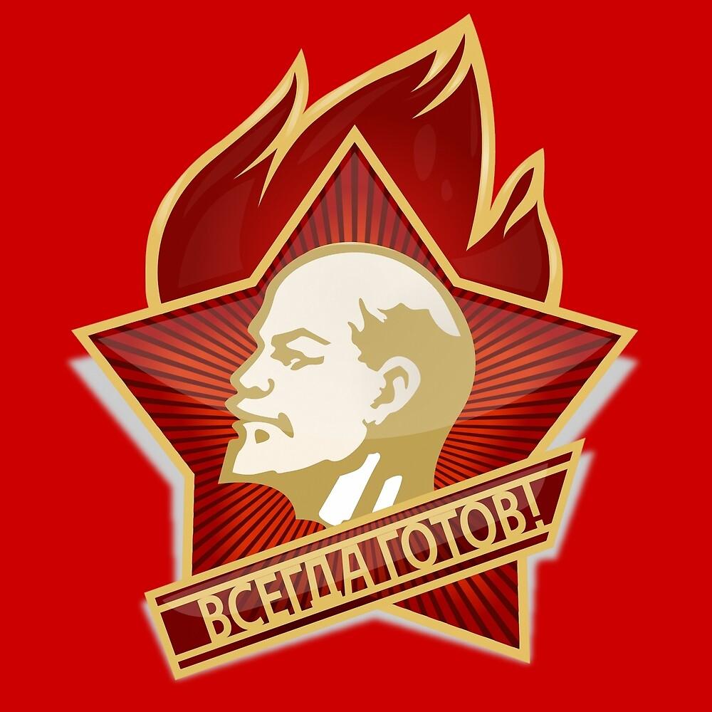 Soviet Lenin Union Pioneer Organisation badge sign symbol by Khokhloma