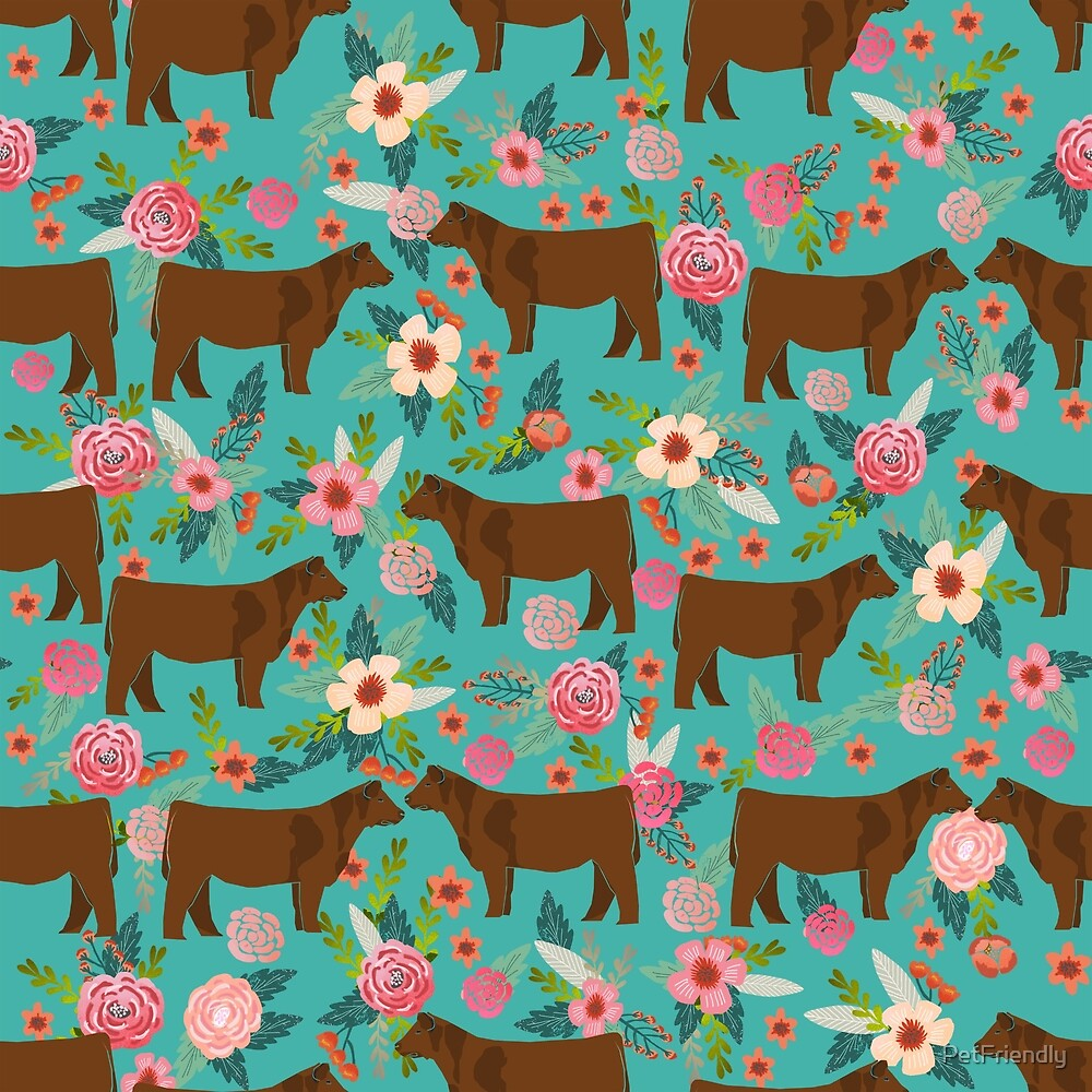 Red Angus cattle breed floral farm homestead gifts cow pattern  by PetFriendly