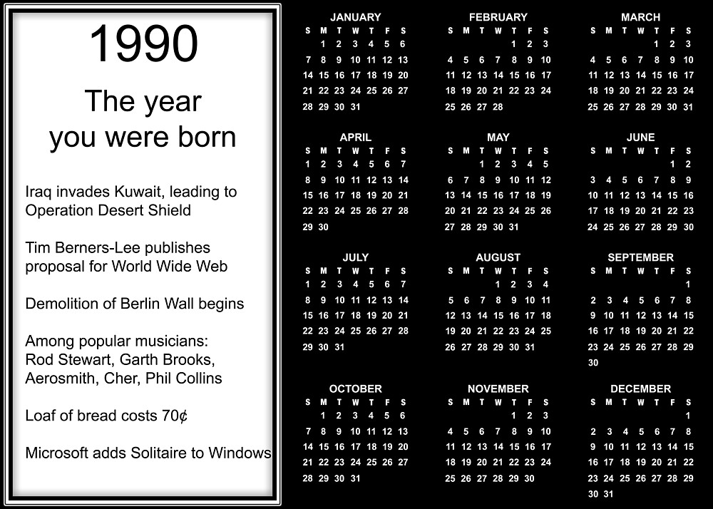 Happy Birthday Born in 1990 Calendar Poster by Colorwash