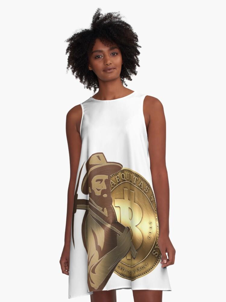 Mining BTC in Miner Golden BitCoin A-Line Dress Front