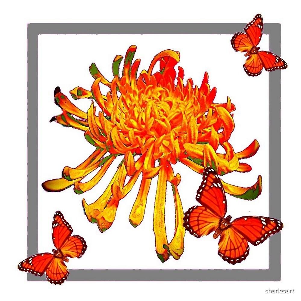 GOLDEN SPIDER MUM & BUTTERFLIES by sharlesart