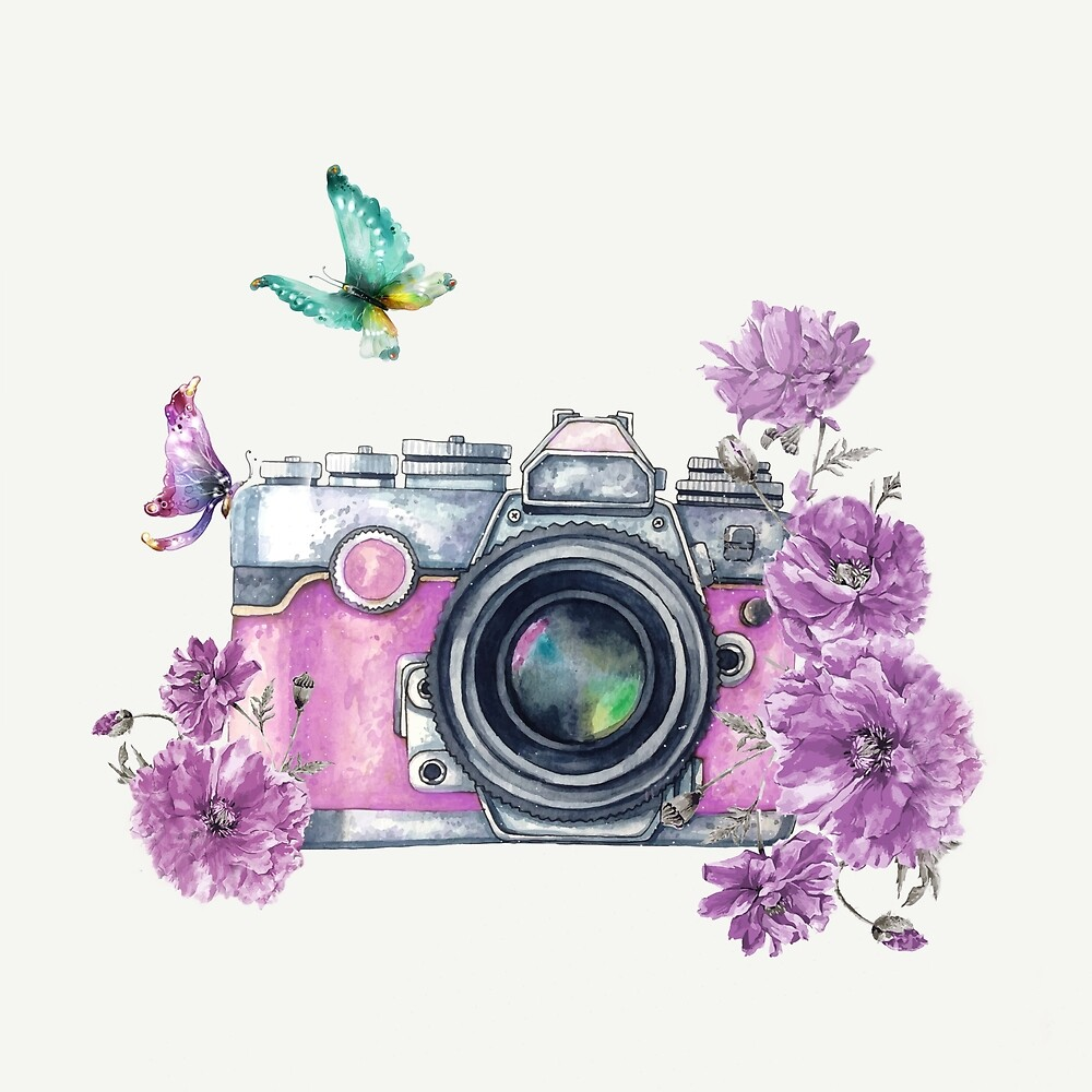 Camera with Summer Flowers 2 by Nadjaa