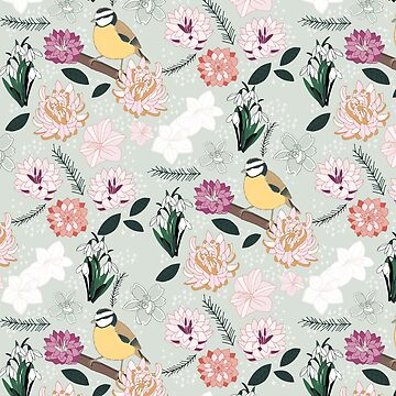 Joyful winter muted floral pattern with bird by victoriabrand