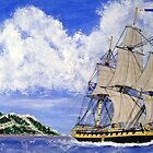 My acrylic painting of HMS Boreas Leaving Gibraltar - Capt Horatio Nelson - 1784 by Dennis Melling